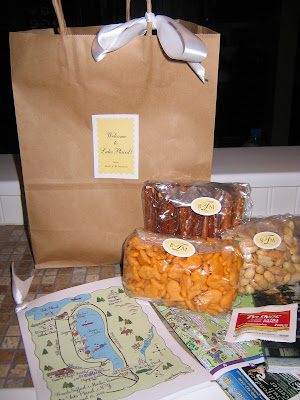 The welcome bags included peanuts goldfish pretzels chocolate chip