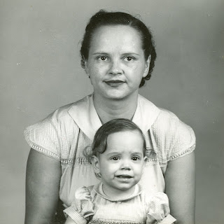 Maggie and mother Jo, passport photo for India, 1956
