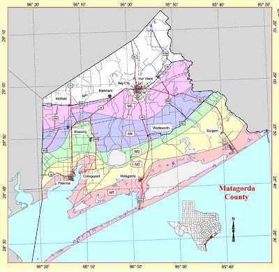 Red Cross Hurricane Evacuation and Storm Surge Map for Matagorda County TX