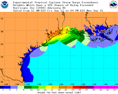 Illustration of Storm Surge Guidance for Texas and Louisiana Gulf Coasts, Friday -- image from NOAA
