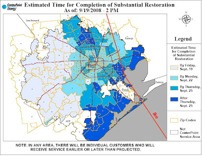 CenterPoint Energy power restoration map
