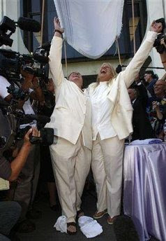 Robin Tyler, left, and Diane Olson at their wedding on June 16, 2008, Los Angeles, California