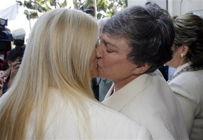 Robin Tyler, right, and Diane Olson at their wedding on June 16, 2008, Los Angeles, California