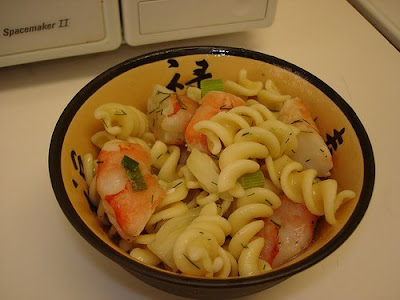 Lemon fusilli with shrimp