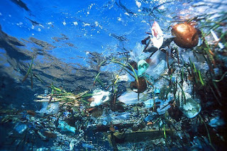Plastic debris in ocean, source unknown