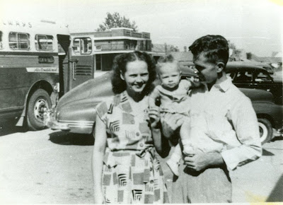 Maggie's parents and older brother in 1949