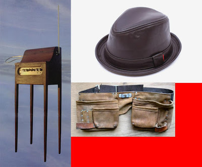Theremin, leather fedora, and carpenter's belt