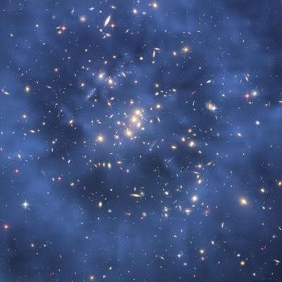 Hubble telescope image showing dark matter in galaxy cluster CI0024+17