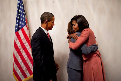Michele Obama embracing Vicki Kennedy following health care speech 9 September 2009