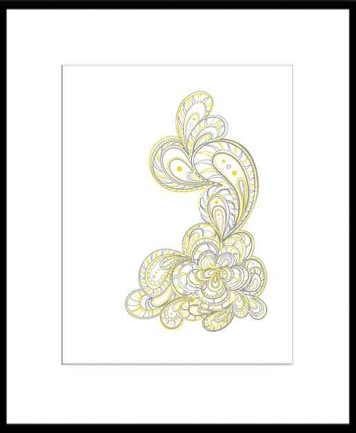 Flowing Shapes Clean design and yet intricate line work print by Paper Squid
