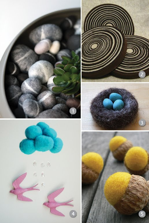 Nature Inspired items using felt from etsy