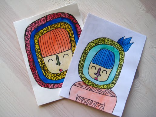 Illustrated handmade cards by Tere