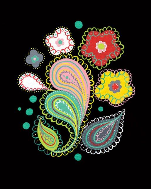 Paper Squid etsy black flower paisley print