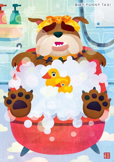 犬のイラスト 「ブルドッグ泡風呂」