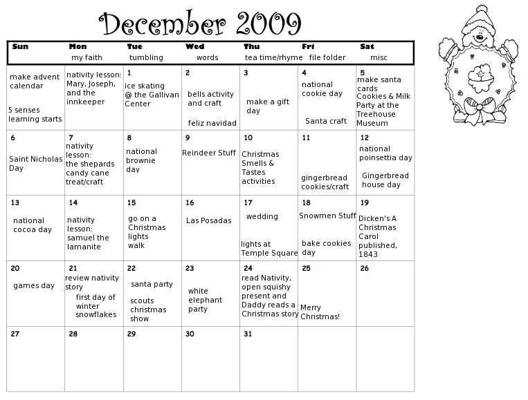 Kids Fun December CalendarNew Calendar Template Site | New Calendar ...
