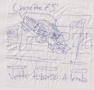 Desenho em guardanapo de papel. Obra artística. Chevette 73'. Vette tubarão.