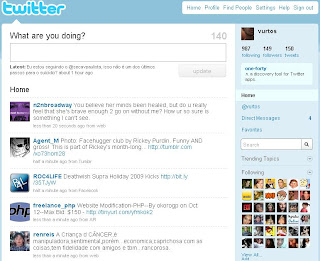 A página HOME do Twitter. Criar conta no Twitter. Como começar no Twitter.