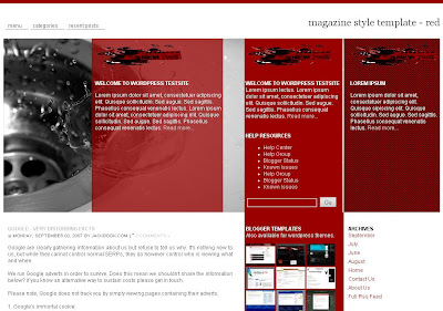 Red Magazine Style Blogger Template