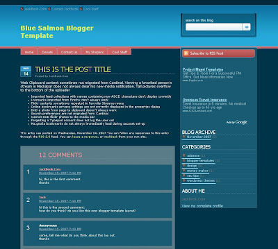 Blue Salmon Blogger Template