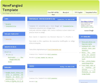New Fangled Blogger Template