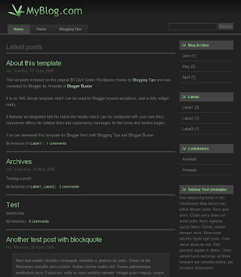 BT Dark Green Blogspot Theme