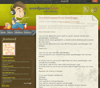 The Wordpress Fun Blogger Theme