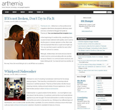 Theme The Arthemia Blogger Templates