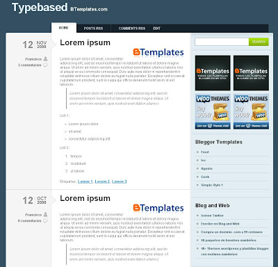Typebased Blogspot Template