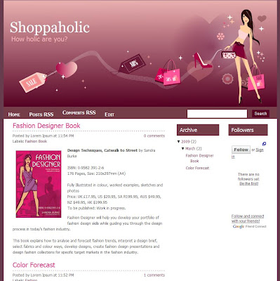 Shoppaholic blogger template