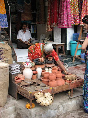 woman selling earthernware