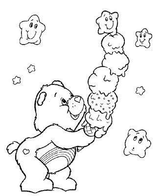 Dibujo para pintar de un oso amoroso comiendo un delicioso helado.