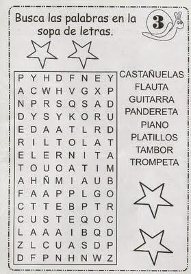 SOPAS DE LETRA PARA NI  OS   INSTRUMENTOS MUSICALES