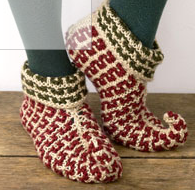 patron tricot pantoufle lutin