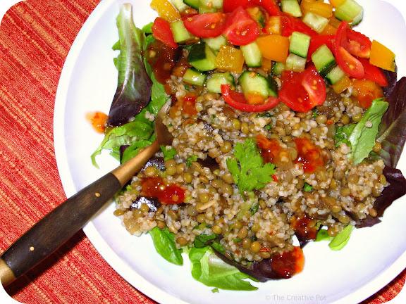 Photo of Aubergine, Bulghur & Lentil Salad with Fresh Salsa