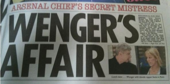 How the papers reported Arsene Wenger's affair with Sonia Tatar in 2010.