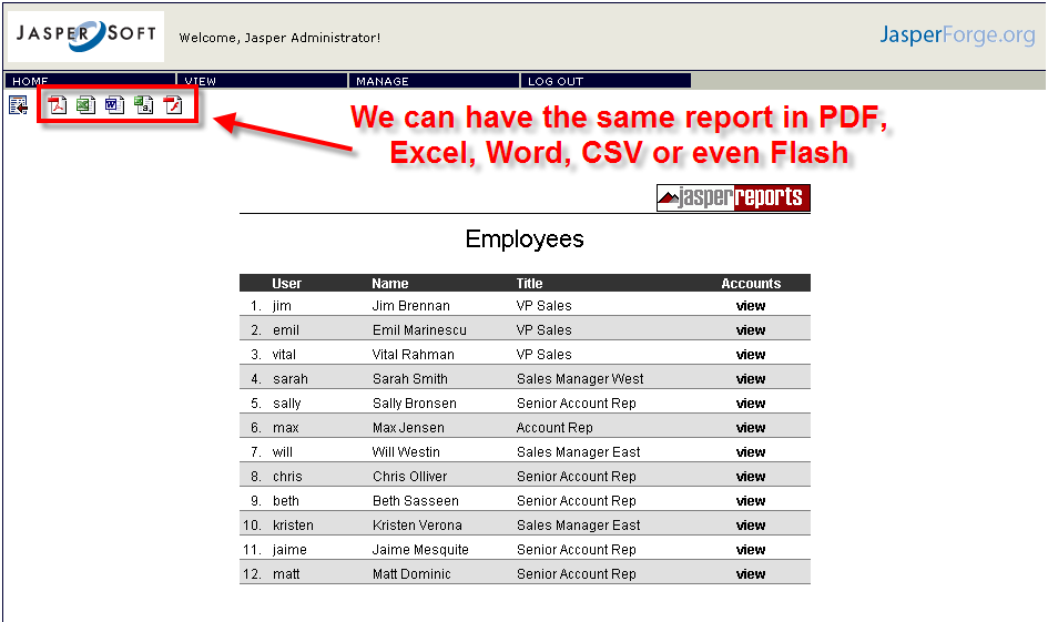 Employeee list report, different formats available