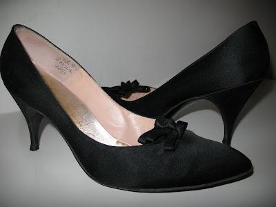 1950's black satin pumps