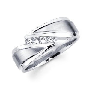 14k White Gold Princess Cut Wedding Band 45 Fancy Beautiful Rings and Jewelry