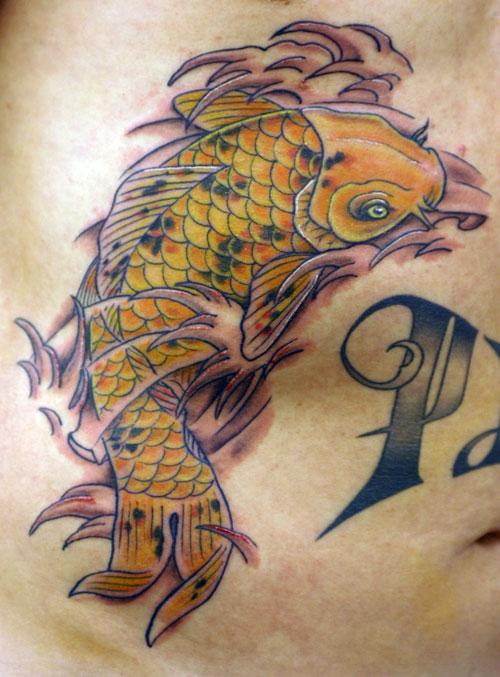 KOI on Ribs Tattoo Design