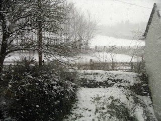 View through studio window - snowing