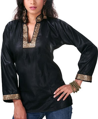 design patterns of kurtis. Black Kurti