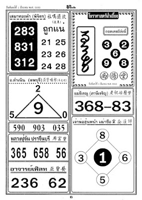 Thai Lottery Magic Win Tip 4 paper 1/3/2010