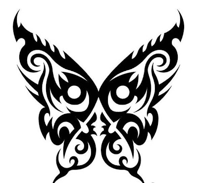black and white butterfly tattoos. Tribal Tattoo, Butterfly