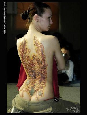 phoenix tattoo art design on sexy girl back body