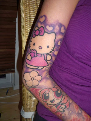 girls kitty tattoo arm ideas