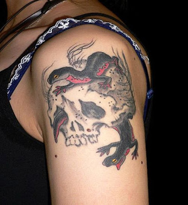 tattoo arm girls with a skull design