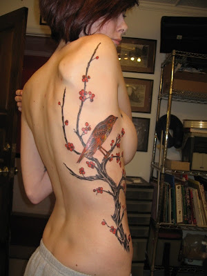 Tree and Bird Tattoo, Rib Tattoo Sexy Girls