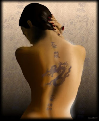 Japanese Tribal Tattoo Design on Back Girl (4)