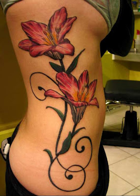 flower rib tattoos sexy women, popular tattoo designon body