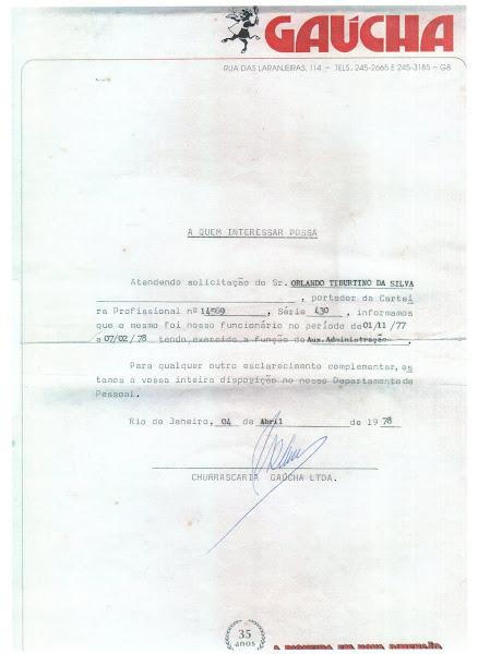 Certificado de trabalho